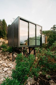 Landscape Hotel by Vivood Landscape Hotels. It's located in the valley of Guadalest, close to Alicante, Spain. Hotel Architecture, Sustainable Architecture, Architecture Design, Landscape Arquitecture, Spanish Towns, Casas Containers, Small Places, Closer To Nature, Prefab Homes