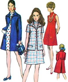 Womens Mod A Line Dress Coat Simplicity 8592 1960s by paneenjerez, $18.00