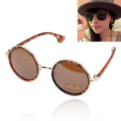 Liquid With Leopard Frame Round Shape Lens Design Resin Sunglasses  www.asujewelry.com