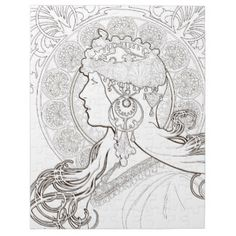 Alphonse Mucha coloring pages | ALphonse Mucha Black and White lined drawing Jigsaw Puzzles