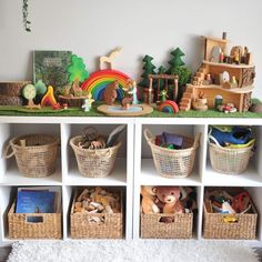 Lets talk toy organisation Our toys are always being rotated to keep things interesting ... here's what we have out for play this week (and I usually select toys that match up with the books we are reading for roleplayinf purposes ) The top 4 baskets hold