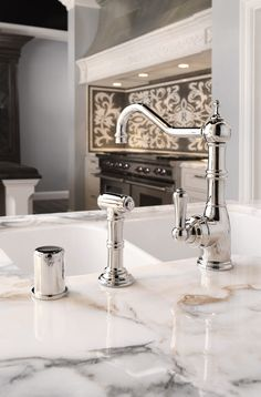 Perrin & Rowe Aquitaine Kitchen Tap with pull out hand rinse in Nickel finish  www.perrinandrowe.co.uk Off White Kitchens, Home Kitchens, Country Kitchens, Sink Taps, Bathroom Faucets, Sinks, Kitchen Taps, Home Reno, Kitchen Essentials