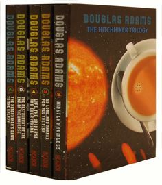 The Hitchhikers Guide To The Galaxy 5 books trilogy set by Douglas Adams, The Hitchhikers is a comic science fiction series and consists of 5 books trilogy set. Galaxy 5, Galaxy Book, The Hitchhiker, Hitchhikers Guide, Douglas Adams Books, Science Fiction Series, Guide To The Galaxy, Reading Challenge, Books