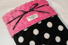 Kels - Minky Baby Blanket Black & White Polka Dot by RazzberryGiggles, $34.50