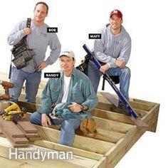 Deck-building consultants on partially finished deck Laying Decking, Decking Area, Trex Decking, Deck Building Plans, Deck Plans, Deck Framing, How To Build Steps, Deck Construction, Deck Builders