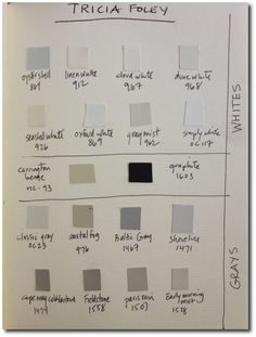 Decorator Tricia Foley's Signature White Interiors Neutral Paint Colors, Exterior Paint Colors, Neutral Colour Palette, Grey Paint, Wall Colors, Benjamin Moore Linen White, Benjamin Moore Classic Gray, Paint Finishes, Fabric Wallpaper