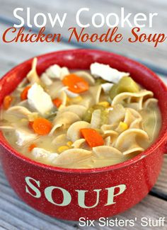 Slow Cooker Chicken Noodle Soup- easy-to-make comfort food! SixSistersStuff.com #soup #crockpot:
