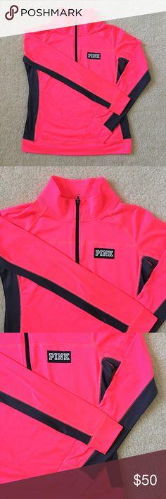 VS PINK ULTIMATE Half Zip (Pink) brand new  size large  original price $59.95 +tax  #vspink #vspinkultimate  #vspinkhalfzip PINK Victoria's Secret Sweaters
