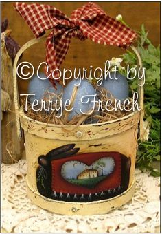 Black Bunny Basket  by Terrye French by PaintingWithFriends