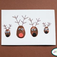 Reindeer Family Thumbprint Card {Christmas Cards}