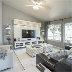 Home Remodeling Living Room Willa Arlo Interiors Welford White Shag Area Rug Living Room Decor Cozy, Living Room Grey, Living Room Interior, Home Living Room, Apartment Living, Living Room Designs, Contemporary Living Room Decor Ideas, Living Toom Ideas, Tv On Wall Ideas Living Room