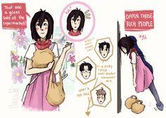 OHSHC/AoT - Mikasa as Haruhi, Jean and Marco as The Twins, Levi as Kyoya - little talks.