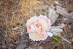 Bouquet: Cream cafe au lair dinner plate dahlias, peach Juliet garden roses, and peach roses