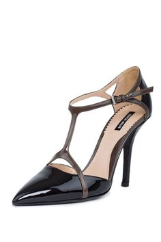 Giorgio Armani Authentic Women T-Strap Pumps Pointed Toe Leather High Slim Heels