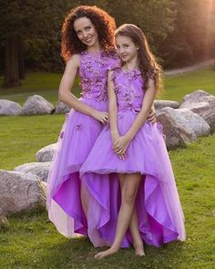 Purple high low dresses, Matching dresses Mother daughter matching lace outfits, lavanda girls party dress, Mommy and Me low high dress Mothers Day Dresses, Mother Daughter Dresses Matching, Mother Daughter Fashion, Mom And Baby Outfits, Mommy And Me Dresses, Girls Party Dress, Girls Dresses, Dress Girl, Pregnant Wedding Dress