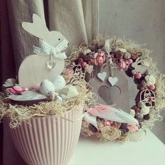 April Easter, Easter 2018, Easter Tree, Easter Wreaths, Hoppy Easter, Easter Bunny, Flower Pot Crafts, Diy Easter Decorations, Spring Projects