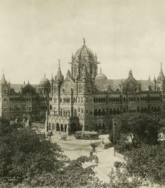 """c. 1890 – """"Railway Station, Bombay"""". Mumbai's historic prosperity can be seen in its impressive Victorian architecture across the city, which housed some of the most important civic and commercial organisations when Mumbai was under command of the British East India Company from the late 19th century to independence in 1947. © RGS-IBG/Clifron & Co."""