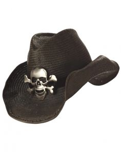 4b532b5443f The Black Cowboy Hat with Skull and Crossbones Adult will be the perfect  addition to complete your 2018 Halloween costume!