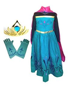 American vogue Elsa Coronation Dress Costume   Cape   Gloves   Tiara Crown (4 Years, Blue) >>> You can find more details by visiting the image link.