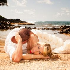 Stranded with my sexy man? Wedding, trash the dress in the ocean in Hawaii photography, picture ideas