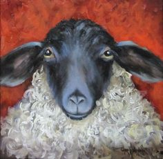 Sheep Print - Lonnie - 7x7 Canvas Giclee Reproduction of Original Painting by Cheri Wollenberg. $45.00, via Etsy.