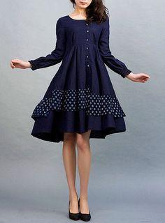Daphne - - Dark blue linen dress (0021). $85.00, via Etsy.