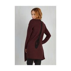 Long Long Sleeve Spine All Mine Cardigan (€55) ❤ liked on Polyvore featuring tops, cardigans, apparel, red, sweaters, open front knit cardigan, long drape cardigan, long sleeve open front cardigan, long burgundy cardigan y drape cardigan