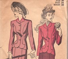 Stunning 1940s Vintage Suit Pattern Advance by OneMoreCupOfTea, $19.00