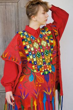 Unique felted red poncho. Beautiful thing for someone who likes colorful Bohemian fashion and Hippie style clothing. Decorated with original vintage