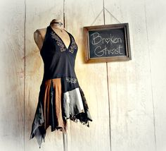 Black Halter Top Boho Tattered Shirt Summer by BrokenGhostClothing