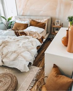 This bedroom is a dream! Totally digging the colors here 🧡 #bedroomgoals #bedroomideas #bedroomdesign Cozy Bedroom, Bedroom Inspo, Bedroom Ideas, Modern Bedroom, Contemporary Bedroom, Bedroom Designs, Bedroom Inspiration, Earthy Bedroom, Neutral Bedroom Decor