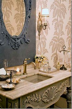 Pretty French Country powder room - Charles Faudree