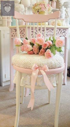 "Love the idea of using a large doily for a chair seat, and not trimming the edges. Just letting them become a ""skirt."""