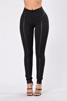 - Available in Black and Olive - High Waisted - Skinny Leg - Vegan Leather Trim - 70% Rayon, 26% Nylon, 4% Spandex