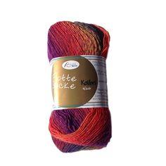 Flotte Socke Kolibri, wool blend sock knitting yarn, variegated, 100g, orange-mustard-lilac - I Wool Knit - 1