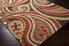 Monterey Area Rug | Red Floral and Paisley Rugs Machine Made | Style MTR1010