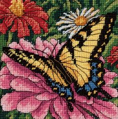 Butterfly on Zinnia Needlepoint