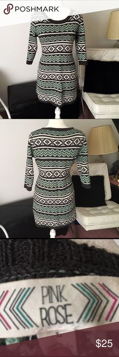 Pink Rose Sweater Dress In excellent condition. Size large but could fit a medium. Colors are gray/light green/off white Pink Rose Dresses