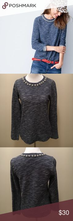 J.Crew Jeweled Neck Sweater Jeweled neckline. blue and white marled sweater. Long sleeves. J. Crew Sweaters Crew & Scoop Necks