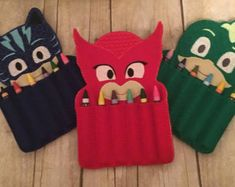 PJ Mask Crayon Holder Handmade Crayon Carrier by TamsTinyBlessings