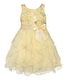 Easter Dress B? Look at this #zulilyfind! Yellow Rosette Cascade Dress - Girls' Plus #zulilyfinds