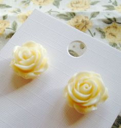 Retro tea rose earring studs resin rose floral jewellery on Etsy, £4.00