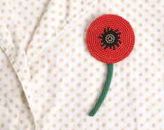 http://www.aliexpress.com/store/1687168 POPPY crochet brooch by heyukka on Etsy