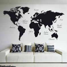Black World Map (De Crearreda Wallstickers)