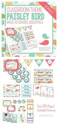 Paisley Bird Theme Classroom MEGA Pack! Full of Back-to-School Essentials like Paisley Bird Nametags, Behavior Chart, Job Chart, Calendar Pack and MUCH MORE! Plus EDITABLE elements. Such a cute Paisley Classroom Theme or Bird Classroom Theme.