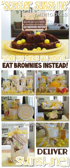 """""""Scatter Sunshine"""" - Complete Box of Sunshine Printable Collection. One freebie tag, """"When life gives you lemons, EAT BROWNIES INSTEAD!"""" Cute!!"""