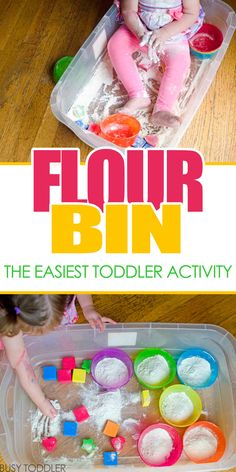 Flour Bin: an easy toddler activity - Need a crazy fast and easy toddler activity? Try a flour bin! You will love how easy this is to set up and how long toddler's will play this indoor activity.