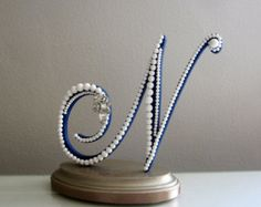 Wedding Cake Topper Monogram Letter N in Navy and White Milk Glass Pearls with Rhinestone Brooch for Modern Wedding