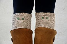 Owl Boot Cuffs Beige Boot Toppers Knit Boot Cuff by HaKaMaDi4, €15.00