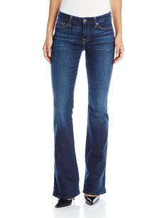 7 For All Mankind Women's Bootcut Jean, New Nouveau New York Dark, Slim bootcut jean in stretch denim featuring whiskering at hips and fading through the knees. Five-pocket styling. Mode Jeans, Women's Jeans, Denim Pants, Trousers, Style Blogger, Stylish Jeans, Boutique Fashion, Jeans For Short Women, Ootd